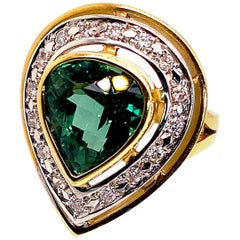 Gemjunky Magnificent Blue-Green Tourmaline Cocktail Ring