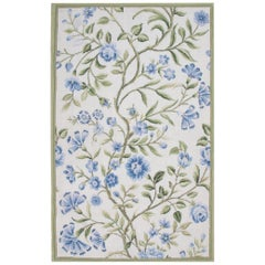 Magnificent Blue Rug, Floral Aubusson Rugs, Needlepoint Carpet Flat-Weave Rug