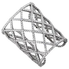Magnificent Boucheron 65 Carat Diamond White Gold Cuff Bracelet