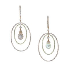 Magnificent Briolette and Pave Diamond Circle Gold Drop Earrings
