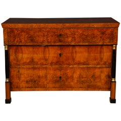 Magnificent Burl Walnut Biedermeier Commode