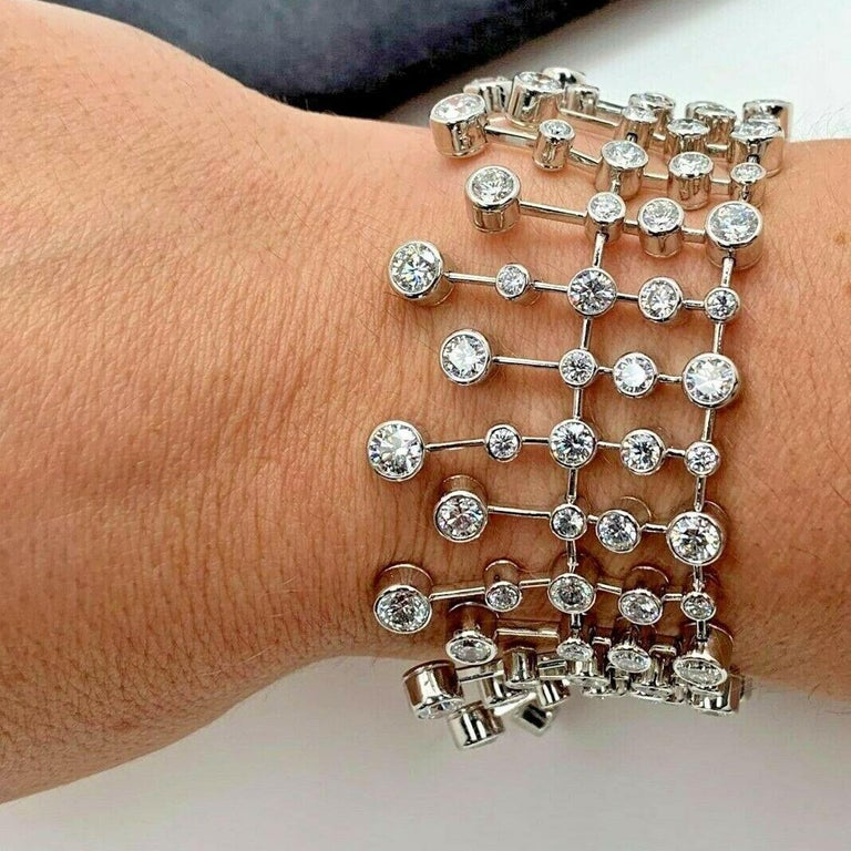 Round Cut Magnificent Cartier Diamond Platinum Tennis Bracelet For Sale