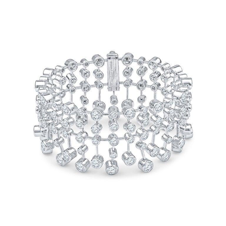 Magnificent Cartier Diamond Platinum Tennis Bracelet In Excellent Condition For Sale In Feasterville, PA