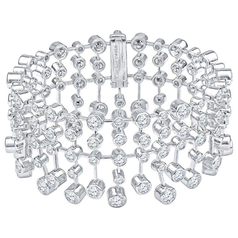 Magnificent Cartier Diamond Platinum Tennis Bracelet For Sale