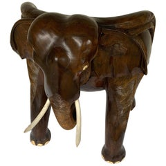 Magnificent Carved Hardwood Elephant Chair