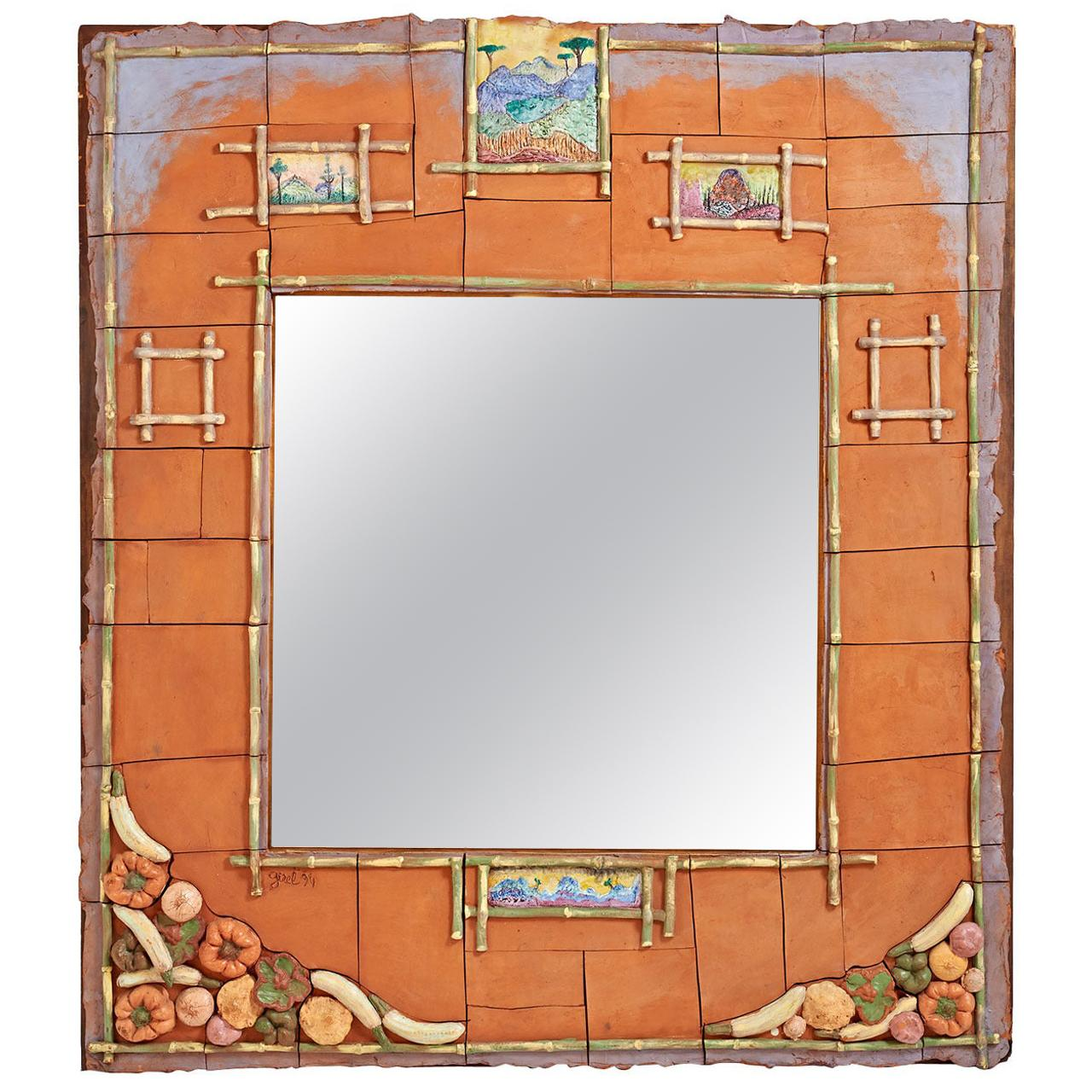 Magnificent Ceramic Mirror by Alain Girel for Hermes, Commissioned in 1994
