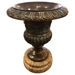 Magnificent Classical Bronze Urn on Marble Stand