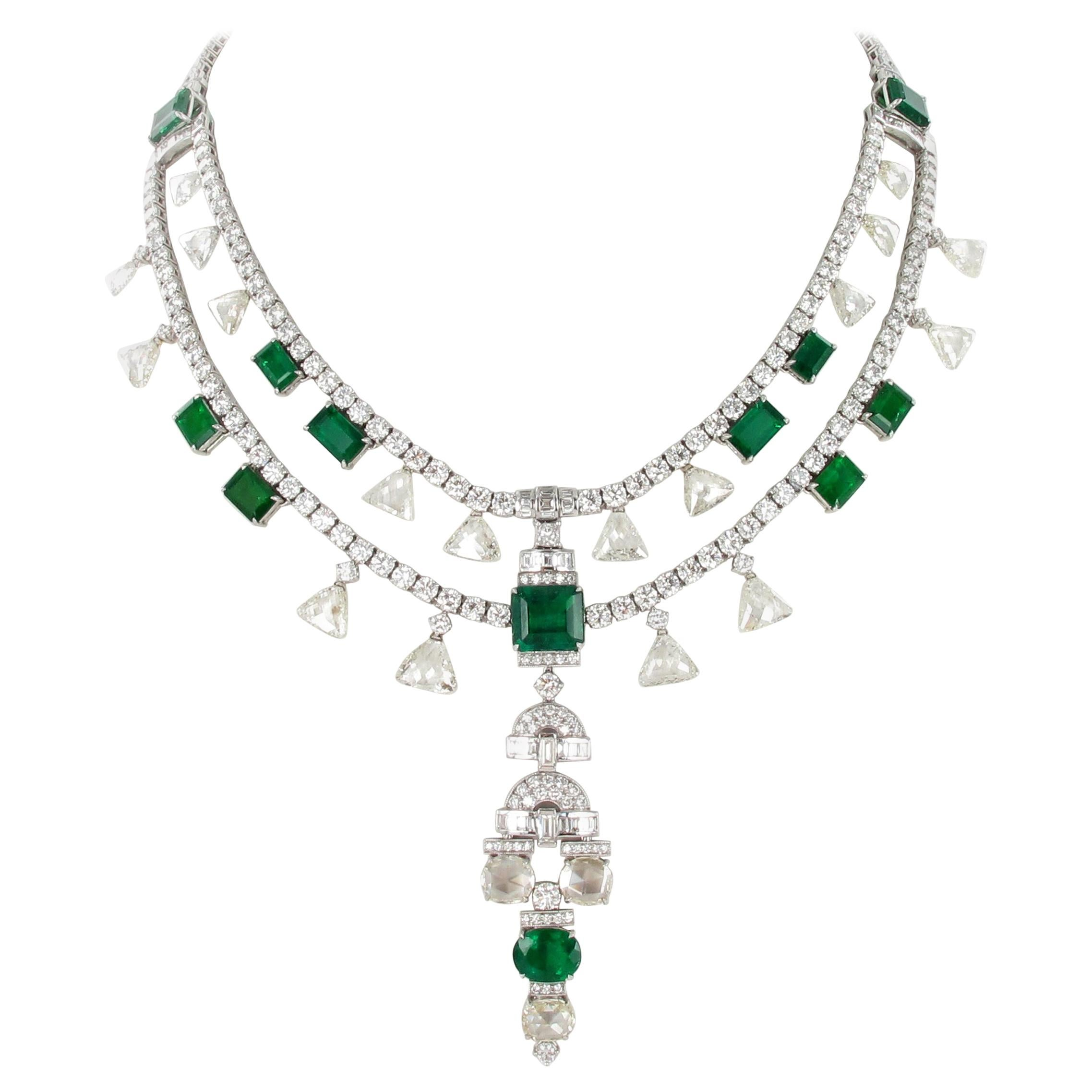 Magnificent Colombian Emerald and Diamond Necklace