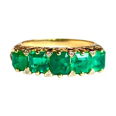 Magnificent Colombian Emerald Five-Stone Ring 18 Karat Gold