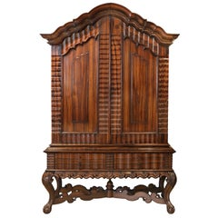 Magnificent Colonial Coromandel Wood Cabinet on Stand, Sri Lanka, 18th Century