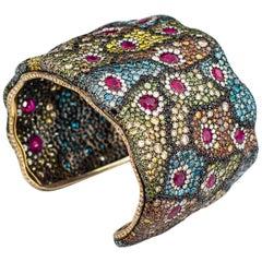 Magnificent Color Diamonds and Ruby Cuff