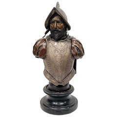 Magnificent Conquistador Bronze and Sterling Silver Bust