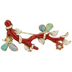 Magnificent Coral Branch Opal Diamond Sapphire Brooch