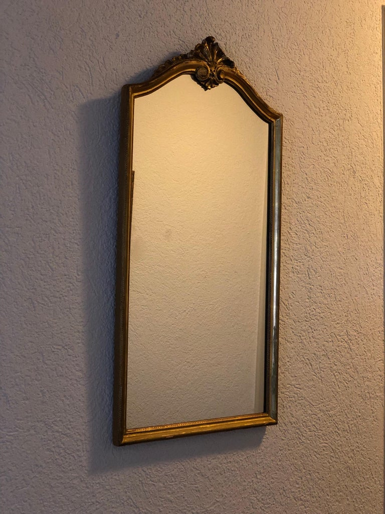 Unknown Magnificent Crystal Authentic Hand Carved Giltwood Wall Mirror, 19th Century For Sale