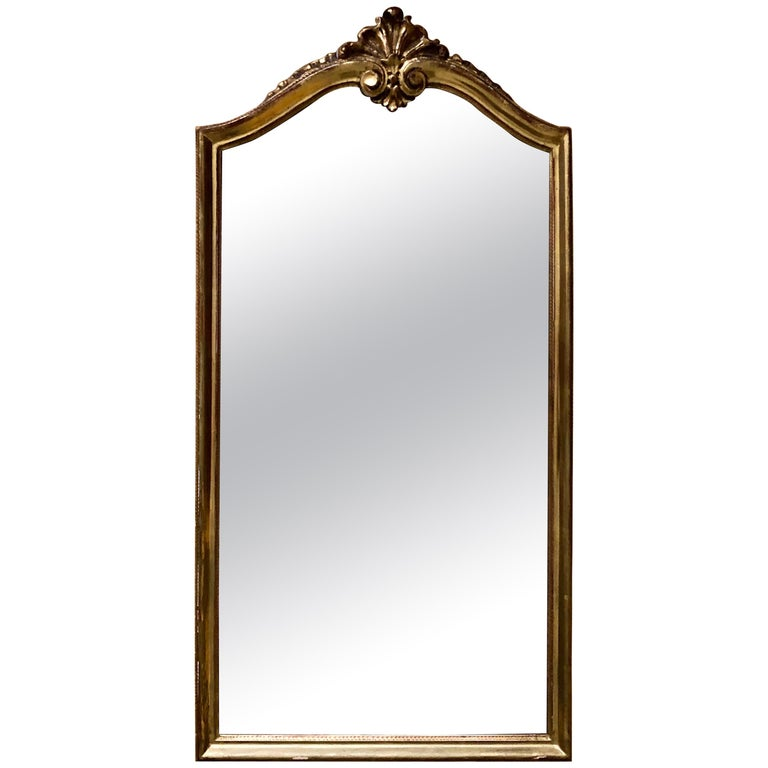 Magnificent Crystal Authentic Hand Carved Giltwood Wall Mirror, 19th Century For Sale