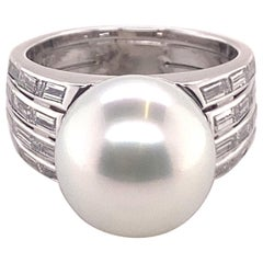 Magnificent Cultured South Sea Pearl and Diamond Ring in White Gold