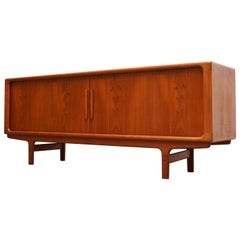 Magnificent Danish Sculpted Teak Sideboard / Credenza by Dyrlund Tambour Doors