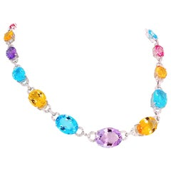 Magnificent Dazzling Multi-Gemstones and Diamond in White Gold Necklace