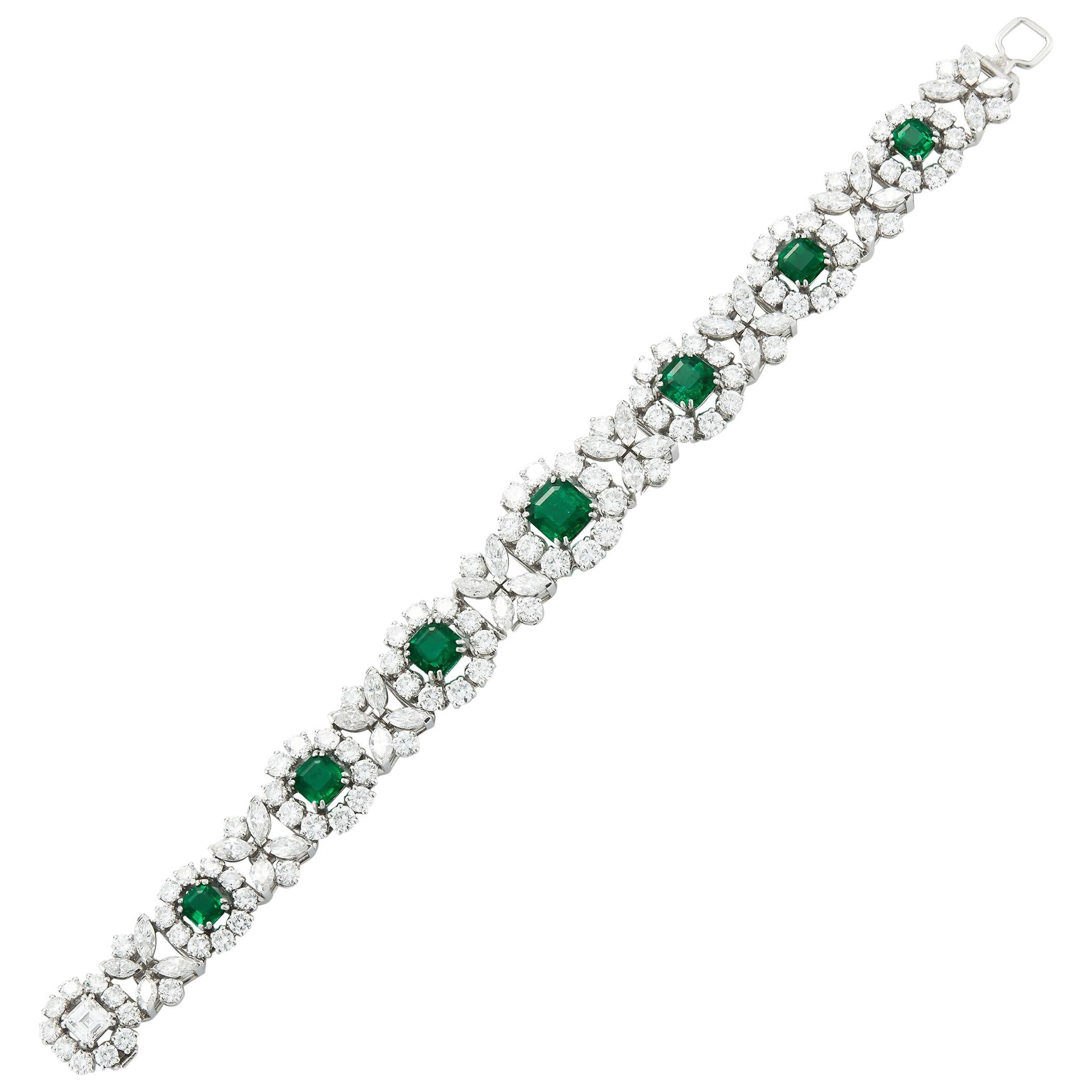 Magnificent Diamond and Columbian Emerald Bracelet