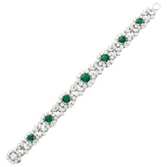 Magnificent Diamond and Columbian Emerald Bracelet