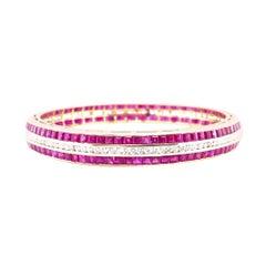 Diamond and Ruby Bangle Bracelet