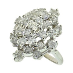 Magnificent Diamond Cocktail Cluster Ring White Gold Ring