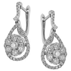Magnificent Diamond Fine Jewelry White Gold Drop Earrings
