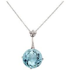 Magnificent Early Art Deco 20.00 ct Natural Aquamarine Diamond Platinum Necklace