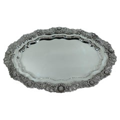 Magnificent Early Tiffany Chrysanthemum Sterling Silver Tray