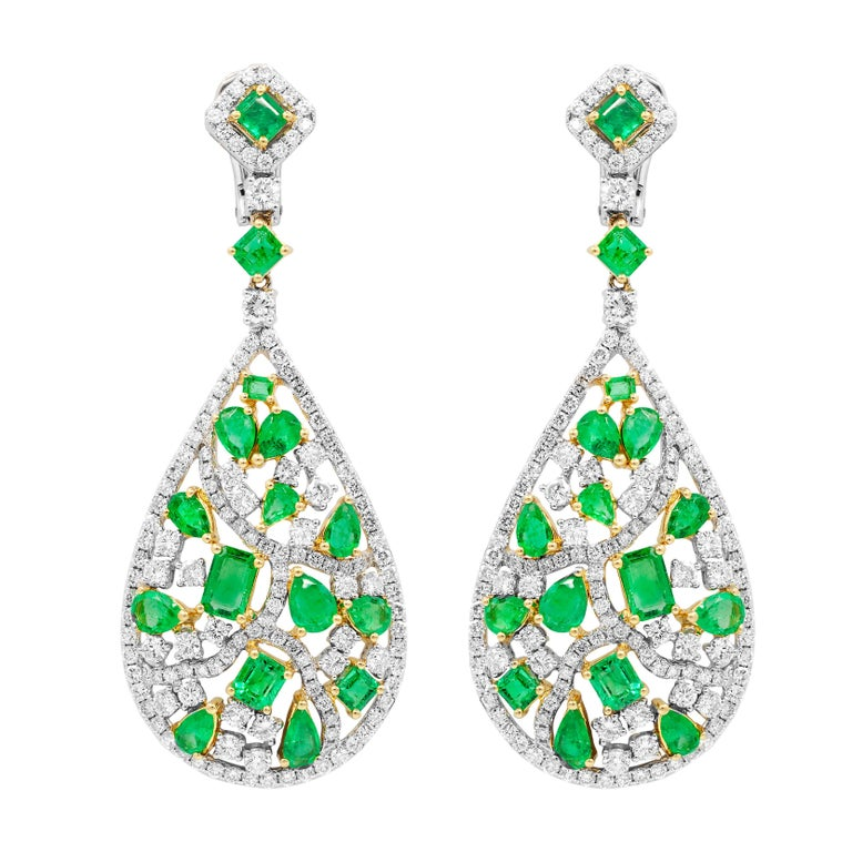 Pear Shaped Untreated Emerald And Diamond Earrings For
