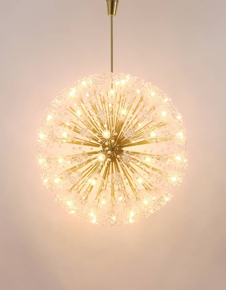 We are proud to offer this astonishing Viennese blowball chandelier with a breathtaking diameter of 36 inches. Designed by Emil Stejnar, executed by Rupert Nikoll in the 1950s. A custom made piece, only a very few of this were produced. We acquired