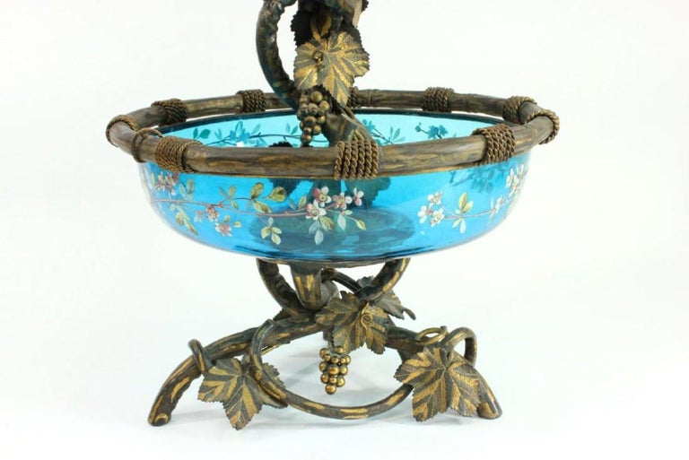 Magnificent enameled glass bronze mounted Epergne.