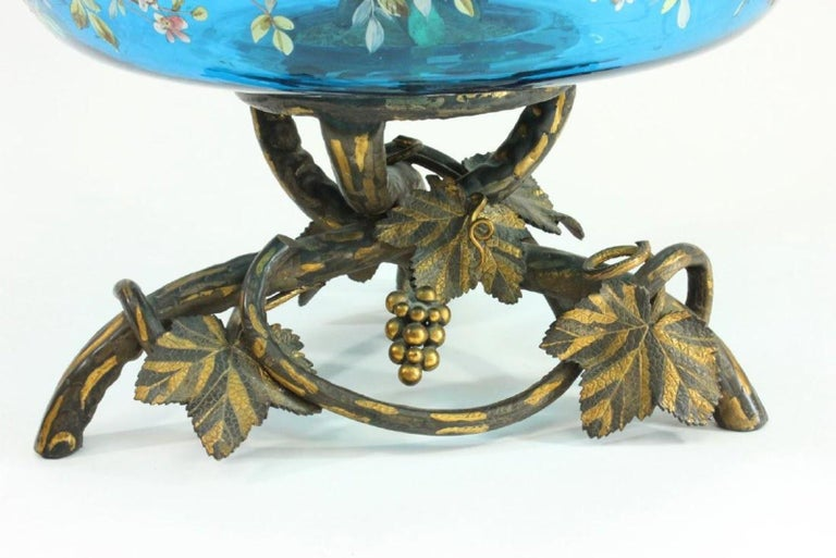 Austrian Magnificent Enameled Glass Bronze Mounted Epergne For Sale