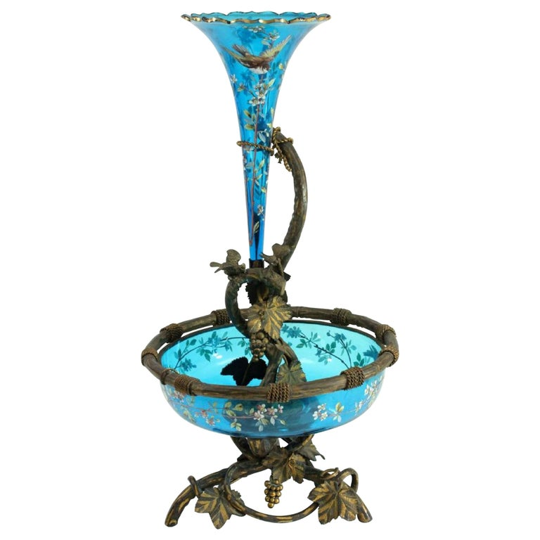 Magnificent Enameled Glass Bronze Mounted Epergne For Sale