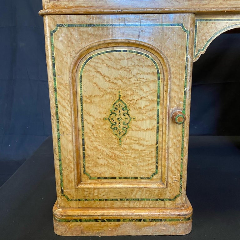 Magnificent English 19th Century Faux Painted Marbleized Pedestal Writing Desk For Sale 6