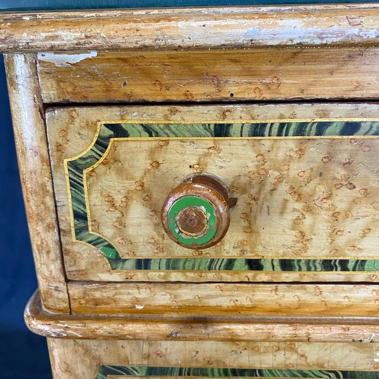 Magnificent English 19th Century Faux Painted Marbleized Pedestal Writing Desk For Sale 7