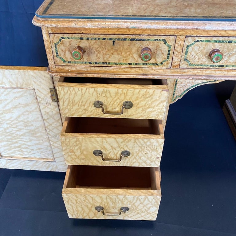 Wood Magnificent English 19th Century Faux Painted Marbleized Pedestal Writing Desk For Sale