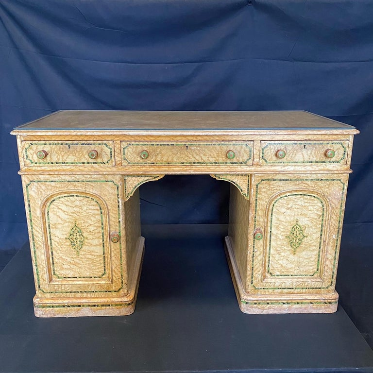 Magnificent English 19th Century Faux Painted Marbleized Pedestal Writing Desk For Sale 2