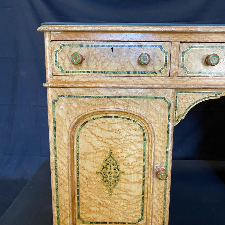 Magnificent English 19th Century Faux Painted Marbleized Pedestal Writing Desk For Sale 3