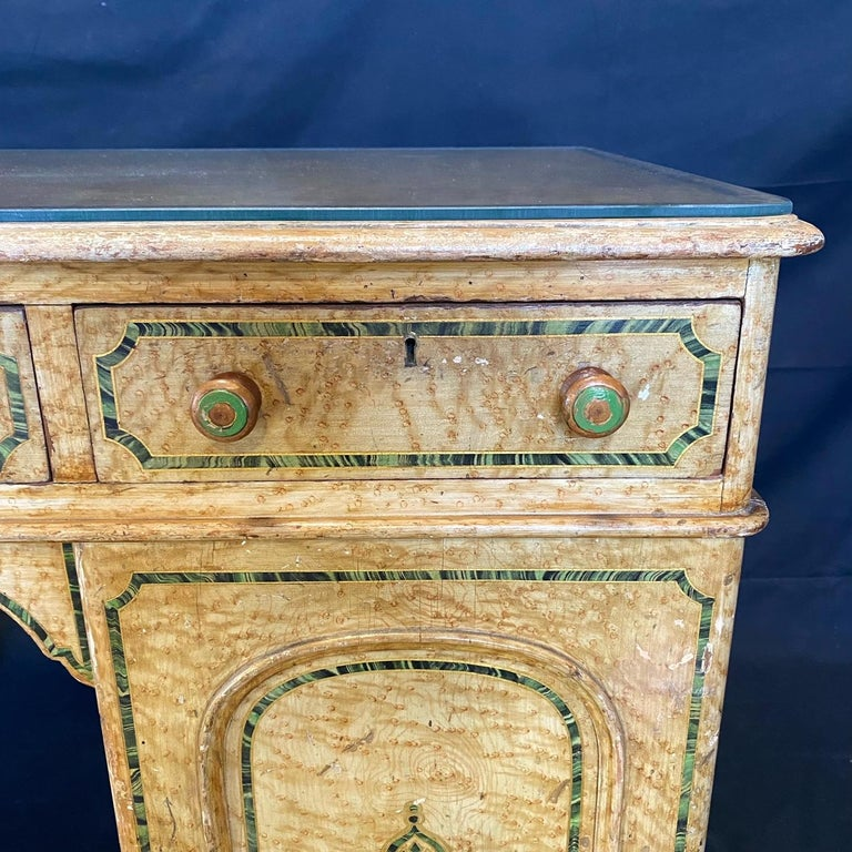 Magnificent English 19th Century Faux Painted Marbleized Pedestal Writing Desk For Sale 4