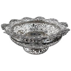 Magnificent English Edwardian Pierced Sterling Silver Centerpiece Bowl