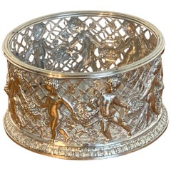 Magnificent English Silver Plated Putti Motif Large Wine Coaster, Elkington