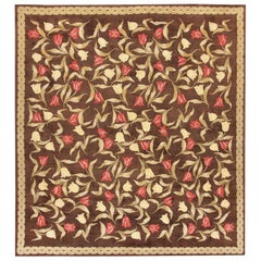 """Magnificent Floral Brown Antique French Savonnerie Rug. Size: 12' 6"""" x 13' 9"""""""
