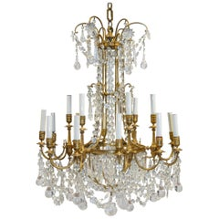 Magnificent French Baccarat and Gilt Bronze Chandelier