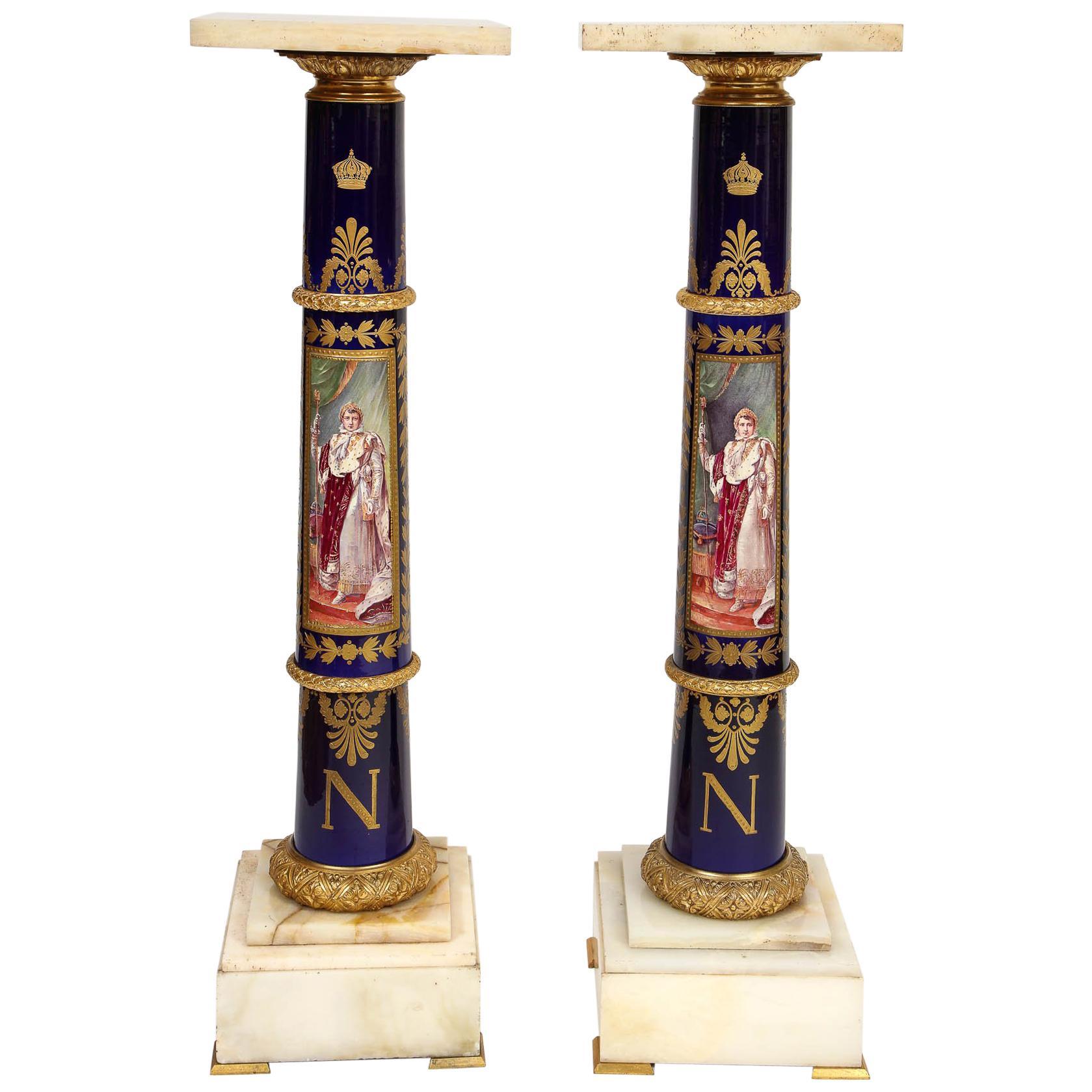Magnificent French Empire Napoleonic Sevres Porcelain Gilt Bronze Pedestals Pair