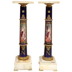 Magnificent French Empire Napoleonic Sevres Porcelain Gilt Bronze Pedestals Pair