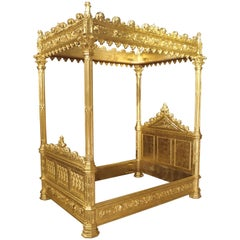 Magnificent Fully Carved Antique French Gothic Bed in 23.5-Karat Gold Leaf