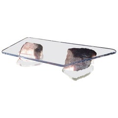 Magnificent Gary Jon Designed Modern Lucite and Rose Quartz Coffee Table