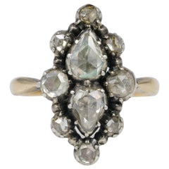 Magnificent Georgian 1.70 Carat Diamond Rare Navette Cluster Ring, circa 1760
