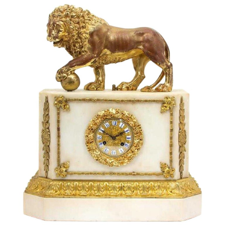 Magnificent Gilt Bronze and Marble Clock For Sale